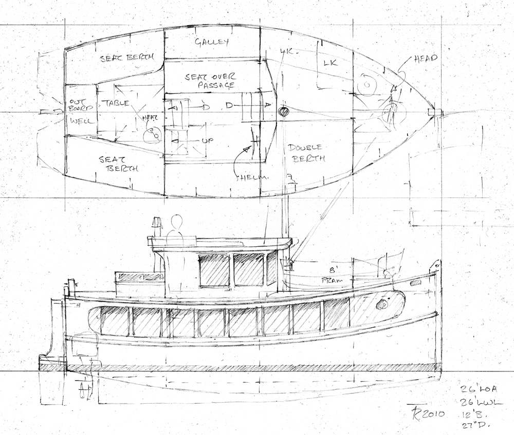 Plans for Marjorie, the House Barge